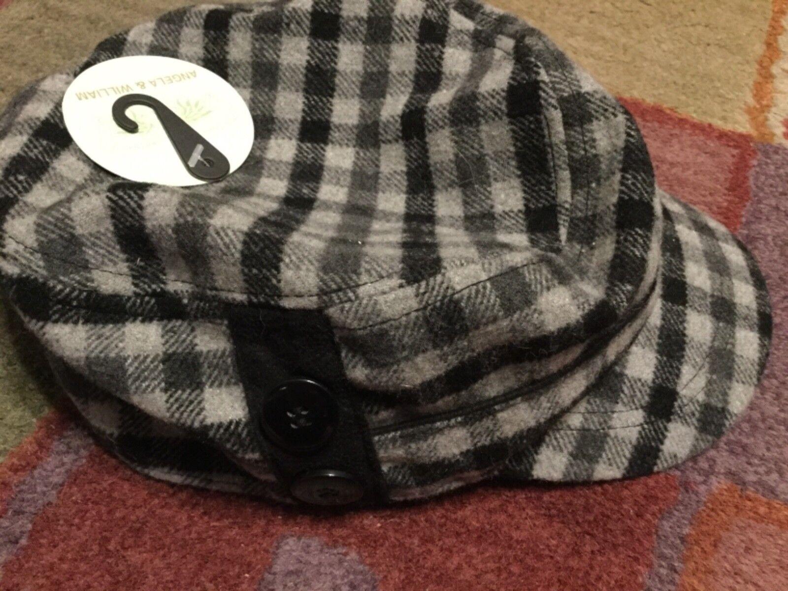 Angela & William Grey & Black Plaid Checkered Newsboy Hat St