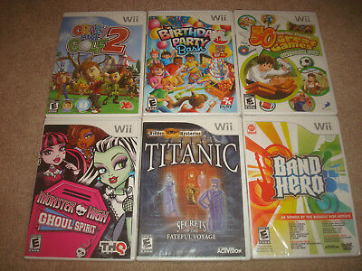 SEALED Nintendo Wii Game LOT Titanic Monster High Crazy Mini Golf 2 Family Party](Monster High Party Games)
