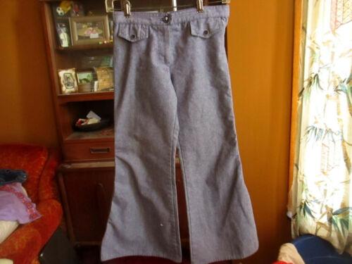 27x26 GIRLS Vtg 70s Handmade Bellbottom Faux Denim Hippy Jeans