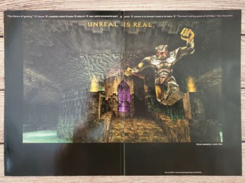 Unreal PC (Epic) Game 1998 3 Page Fold-out Original Promo Ad Print Poster