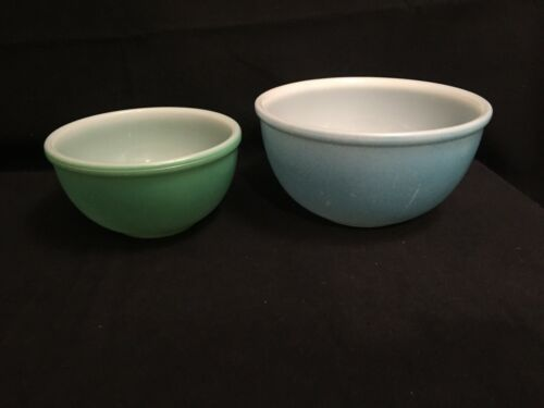 2 Vintage Fire King Oven Ware Mixing Bowls, Blue, Green