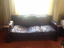 Jacobean leather couch and arm chairs Mosman Mosman Area Preview