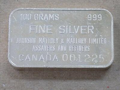 Johnson Matthey & Mallory Canada 100 Gram 999 Fine Silver