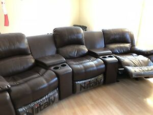 6 pcs of Full leather Nitaly Recliner Sofa Set