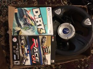 P.C. racing games. Comes with drivers wheel and gas/brake pads