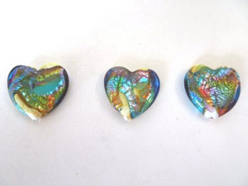 Murano Lampwork Heart Glass Beads Gold Foil Cream Bronze Blues Green Quantity 3