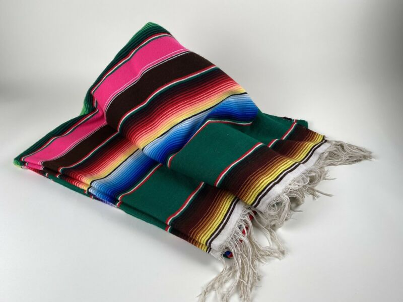 "Mexican Southwestern Blanket Wall Hanging Rug Stripes Large 86""x61"""