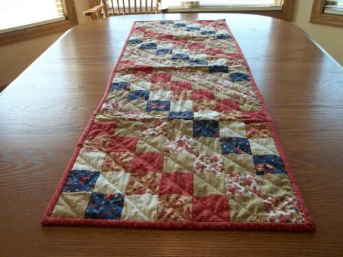 """Handcrafted & Hand Quilted Table Runner, 17"""" x 51"""", 100% Cotton, Reversible"""