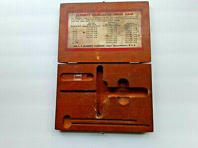 Vintage Starrett Micrometer Depth Gauge In Original Wood Box 440