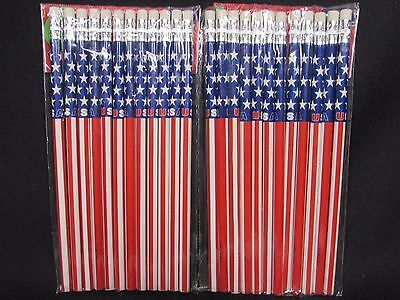 American Flag #2 Pencils Patriotic Back to School  US U.S. USA U.S.A. LOT OF 24