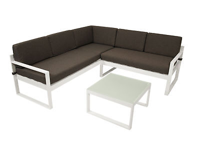 Loungeset Lounge Alu Gartengarnitur Gartenmöbel Alulounge ARESE Weiß  Wetterfest