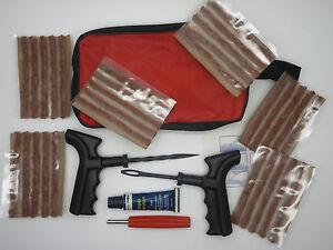 Emergency Car Van Motorcycle Tubeless Tyre Puncture Repair Kit 30 Strings & Glue
