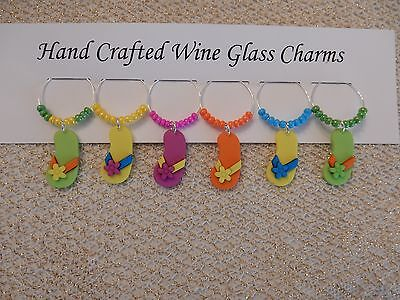 """""""FLIP FLOPS"""" SET OF 6 HAND CRAFTED WINE GLASS CHARMS"""