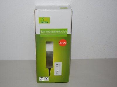 - GRAND SOLAR POWERED LED BOLLARD LIGHT NATURAL WHITE SET OF 2
