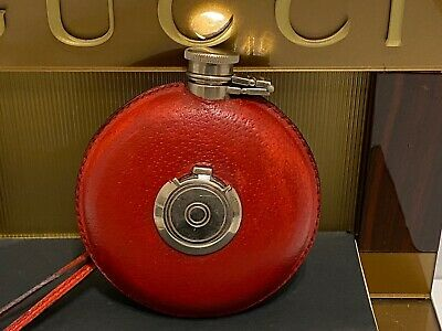 VINTAGE GUCCI ROUND FLASK W/ SHOT CUPS IN THE MIDDLE & STRAP