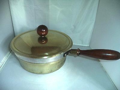 Beautiful 2 Qt. Vintage Aluminum & Copper Double Boiler w/ Wood Handle & Knob
