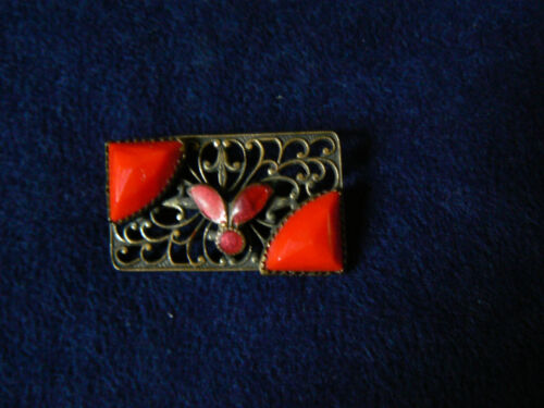 "Antique Art Deco Czech Enamel & Red Glass Pin 1 1/4"" C-Clasp"