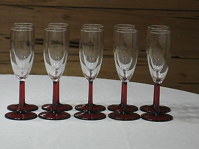 Set of 10 Clear Glass Champagne Flutes with Ruby Red Stem & Base