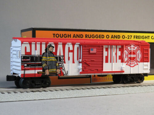 MTH RAIL KING CHICAGO FIRE DEPARTMENT BOXCAR O GAUGE train car 30-74910 NEW
