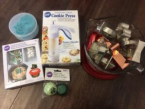 Wilton cookie press, cookie cutters and more