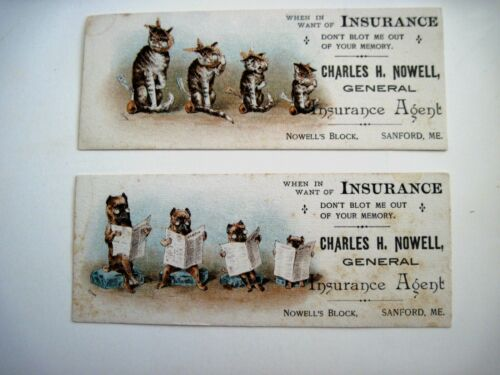 """Two Humorous Vintage Advertising Blotters """" w/ Sick Cats & Dogs Reading News  *"""
