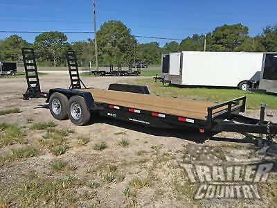 New 2020 7 X 20 14k Flatbed Heavy Duty Wood Deck Equipment Trailer W Dove Tail