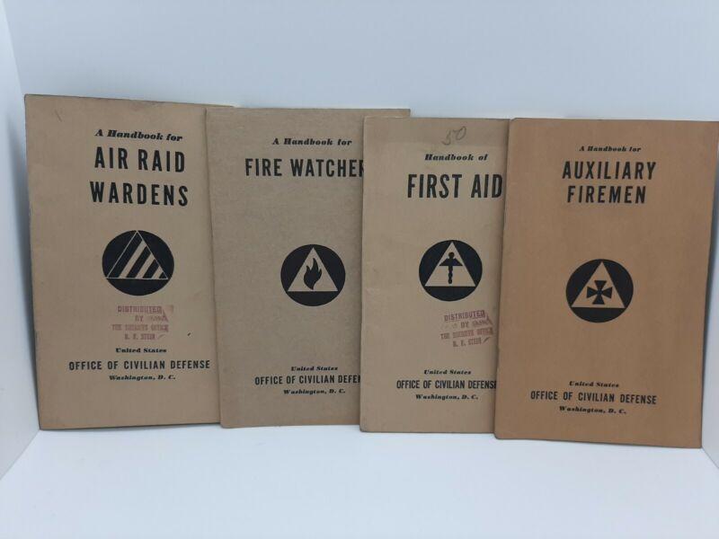 Lot Of 4 1941 1942 Civilian Defense Handbook Air Raid Fire Watchers Firemen