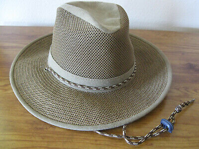NWOT Henschel Vented Safari Sun Hat with Corded Chin Strap Brown Mens Small
