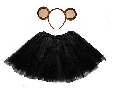 MONKEY TUTU COSTUME EARS KIDS ANIMAL FANCY DRESS SKIRT ACCESSORY BLACK CHIMP - Monkey Tutu Costume