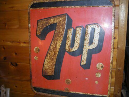 """Vintage Metal EMBOSSED 7 UP Sign / 29"""" by 35"""""""