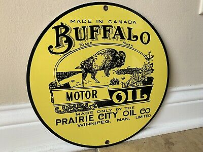 - Buffalo Motor Oil round metal  sign Vintage Gasoline Style reproduction