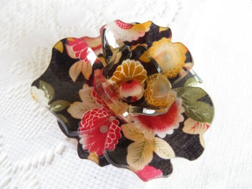Large Retro Perspex Lucite Plastic Flower Pin Brooch Patterned Statement Piece