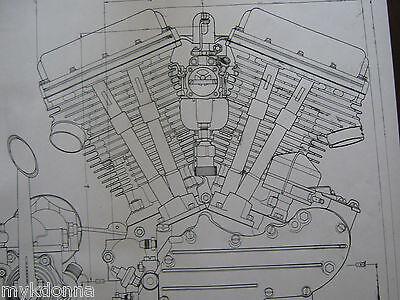 2 HARLEY DAVIDSON PANhead Engine BLUEPRINT Transmision FLH V2 V Twin print vtg for sale  Pittsfield