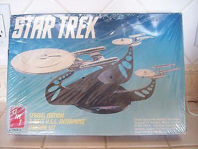 Vintage AMT ERTL Star Trek USS Enterprise 3 Piece Chrome Set - Factory Sealed