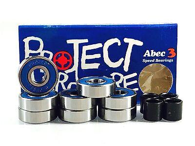 Project ABEC 3 Skateboard Longboard Inline Skate 8mm 608 Bearings w/ Spacers