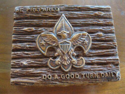 Vtg Boy Scout BSA Trinket Camp Box Be Prepared Do a Good Turn Daily Wood Design