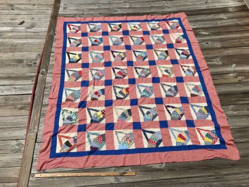 Antique Fans Baskets Quilt TOP Feed Sack Material Blue Red and White