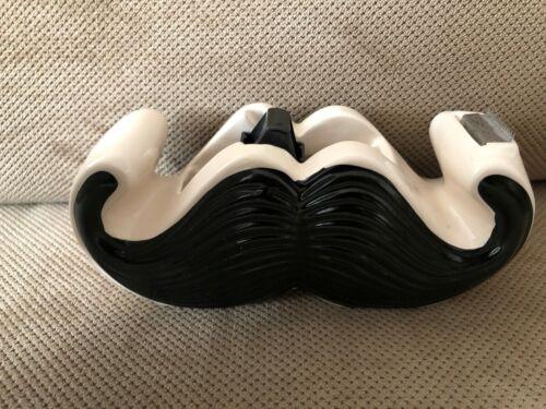 Adorable Ceramic MUSTACHE Tape Dispenser Holder Office Supplies Gift! FREE SHIP!