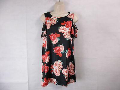 For G   Pl Womens S Black Floral Print Cut Out Shoulder Short Sleeve Top New