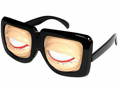 Gag Crazy Eyes Funny Funky Party Novelty Glasses Costume Tired Eyes Old Man