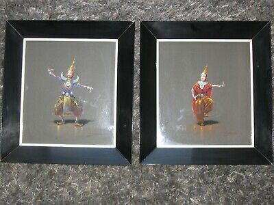 Beautiful Pair Vintage Thai Dancer Painting - Siam Thailand- Mid Century Modern