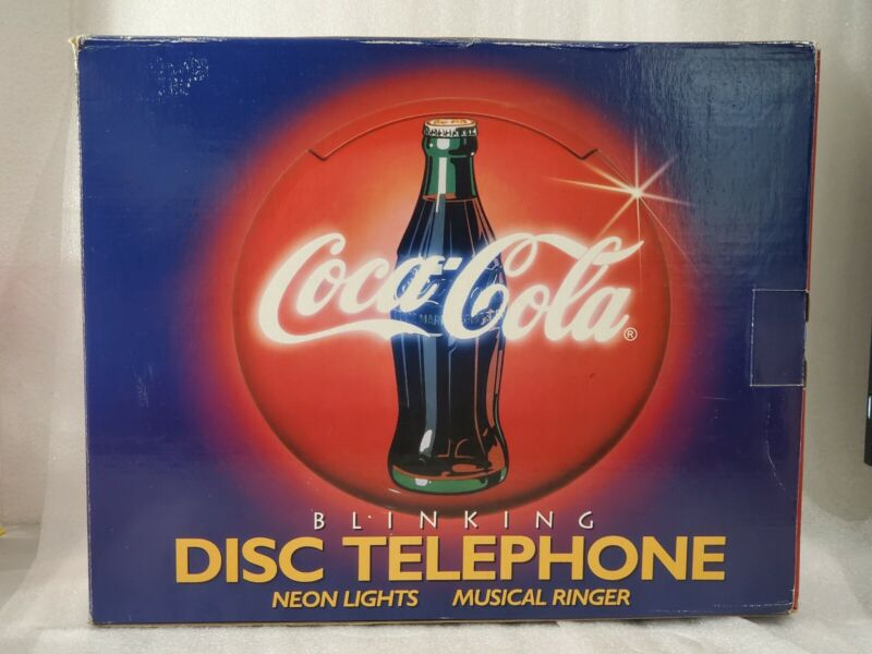 COLLECTIBLE VINTAGE COCA-COLA BLINKING DISC TELEPHONE NEON LIGHTS MUSICAL RINGER