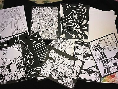 Coloring Pages Boys (boys girls COLOR PICTURES black white 30 page STICKERS TO COLOR PAPER NEW NIP)
