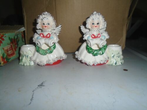 VINTAGE CHRISTMAS FIGURINE HOLIDAY GIRLS ANGEL CANDLE HOLDERS COMMODORE JAPAN
