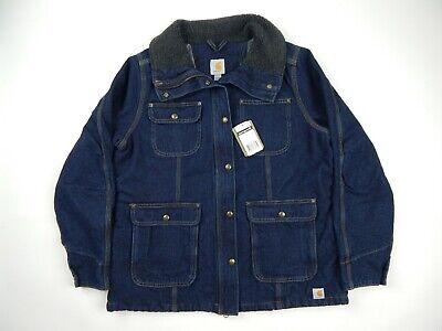 Carhartt Heritage Blue Denim Quilt Lined Wesley Chore Coat Women's XL New