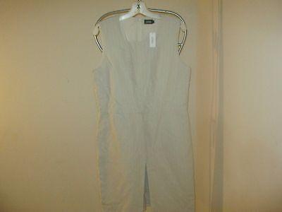 Kate Spade Saturday Linen Blend Dress w/Front Slit Hidden Panel  12      NWT