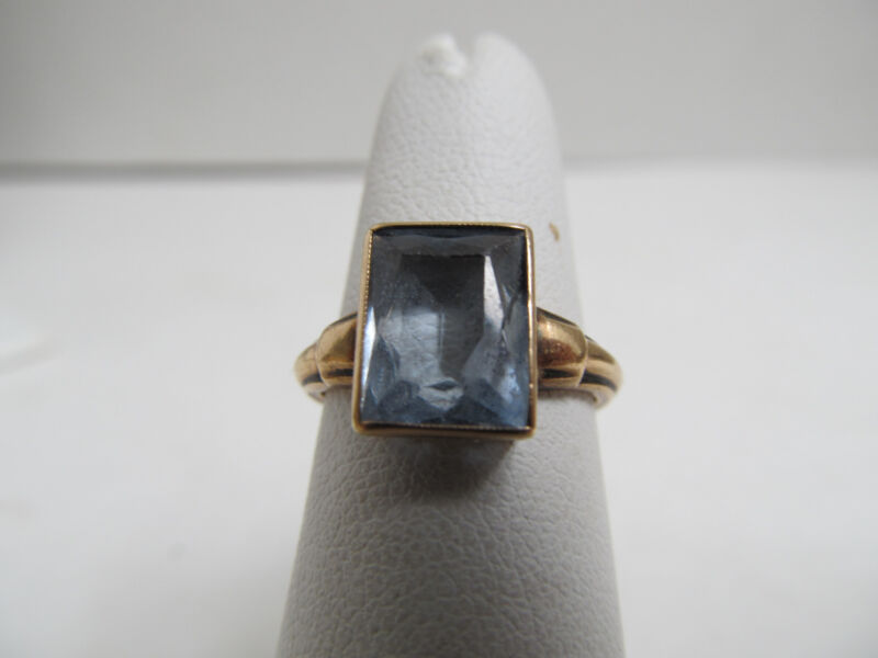 Hallmarked 10k Vintage Elegant Blue Crystal Gold Ring, Size 4 3/4