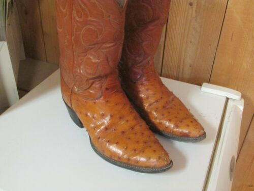 , , Mens, Size, 10.5, , D, OLATHE, Cowboy, Full, Quill, Ostrich, Cognac, Western, Cowboy, Boots