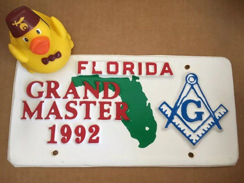 Florida Grand Master 1992 Auto Tag w/Frame & Mahi Shriners Rubber Duck