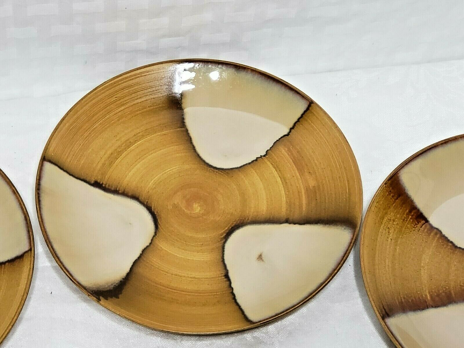 Four Sango Splash 4951 Salad Plates 8.25 D Vintage Stoneware Rustic Drip Glaze - $25.99